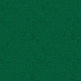 Thin Line School Education Green Seamless Pattern