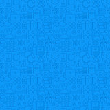 Thin Medical Line Health Care Blue Seamless Pattern