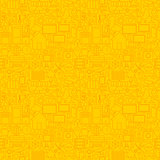 Thin Smart House Line Seamless Yellow Pattern