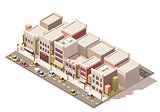Vector isometric small town street