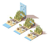 Vector isometric seaside landscape
