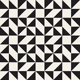 Vector Seamless Black and White Geometric Square Triangle Tessellation Pattern