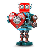 Cute 3d Retro Robot obot with red heart. Isolated. Contains clip