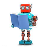 Robot reading a book. Isolated. 3D illustration with clipping path