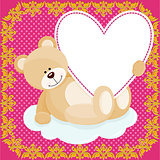 Cute teddy bear hugging heart on love background