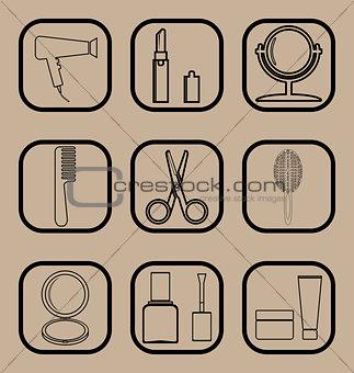 Beauty line icons set