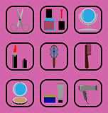 Beauty flat icons set