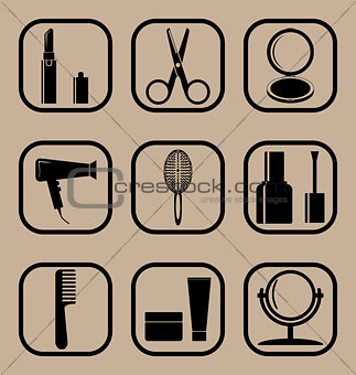Beauty simple icons set