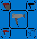 Hairdryer icons set