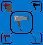 Hairdryer icons set