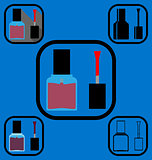 Nail polish icons set