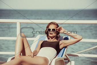 Beautiful brown hair woman wearing bikini