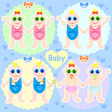 Baby vector illustration. Baby set.