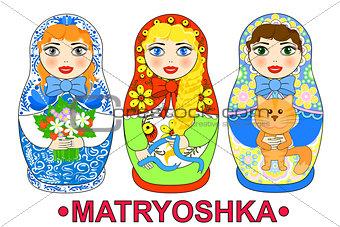 Matryoshka russian dolls vector illustration