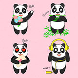 Panda set vector illustration
