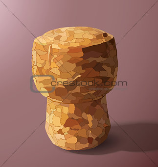 champagne cork is casting a shadow in the right