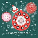 Christmas colorful balls and Santa Claus