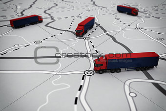 3D rendering of transport itinerary