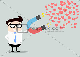 businessman attracting hearts