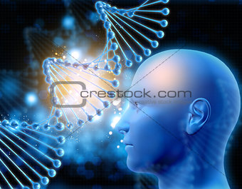 3D medical background with DNA strand and male head