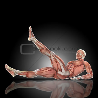 3D render of a medical figure with muscle map in leg raise pose