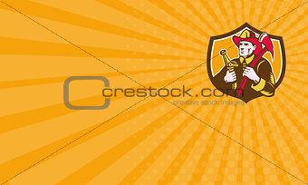 Business card Fireman Firefighter  Axe Hose Crest Woodcut