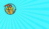Business card Fireman Firefighter Fire Axe Hook Circle Retro