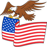 American Bald Eagle Carrying USA Flag Cartoon