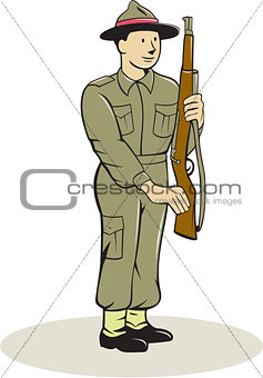 British World War II Soldier Presenting Arms Cartoon