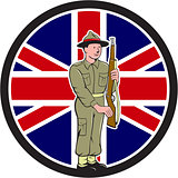 British World War II Soldier Union Jack Flag Cartoon