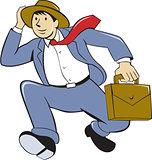 Businessman With Briefcase Running Cartoon