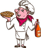 Pig Cook Pie Wine Bottle Cartoon