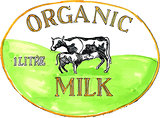 Cow Organic Milk Label Drawing