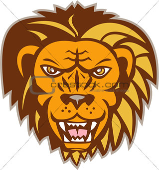 Angry Lion Big Cat Growling Head Retro