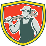 Mechanic Worker Holding Spanner Shield Retro