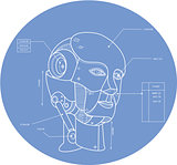 Robot Head Technical Drawing