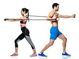 couple man and woman fitness exercises isolated