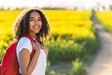 Mixed Race African American Girl Teenager Hiking