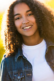 Mixed Race African American Girl Teenager in Sunshine