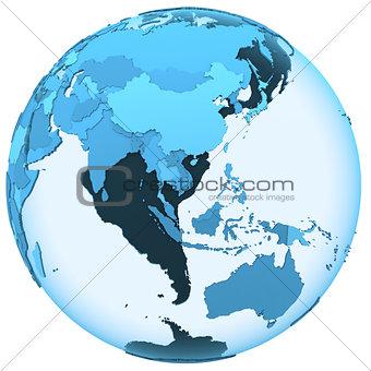 Asia on translucent Earth