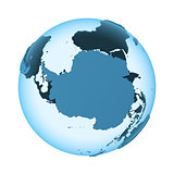 Antarctica on translucent Earth