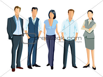 five persons and employees stand together