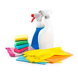cleaning service products isolated on white background