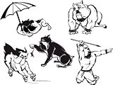 Funny Bulldog Cartoons Set