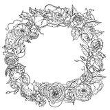 Hand drawing wreath Black and white. Flower mandala.