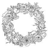 Hand drawing element. Black and white. Flower mandala.
