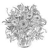 Hand drawing zentangle element. Black and white. Flower mandala.