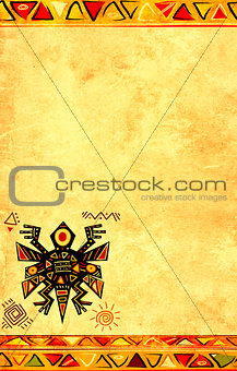Grunge background with African ethnic patterns