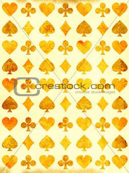 Grunge background with paper texture and playing cards symbol
