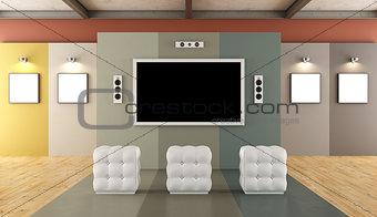 Modern museum with multimedia area